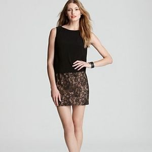 Adrianna Papell Plus Size Lace Skirt Blk Dress